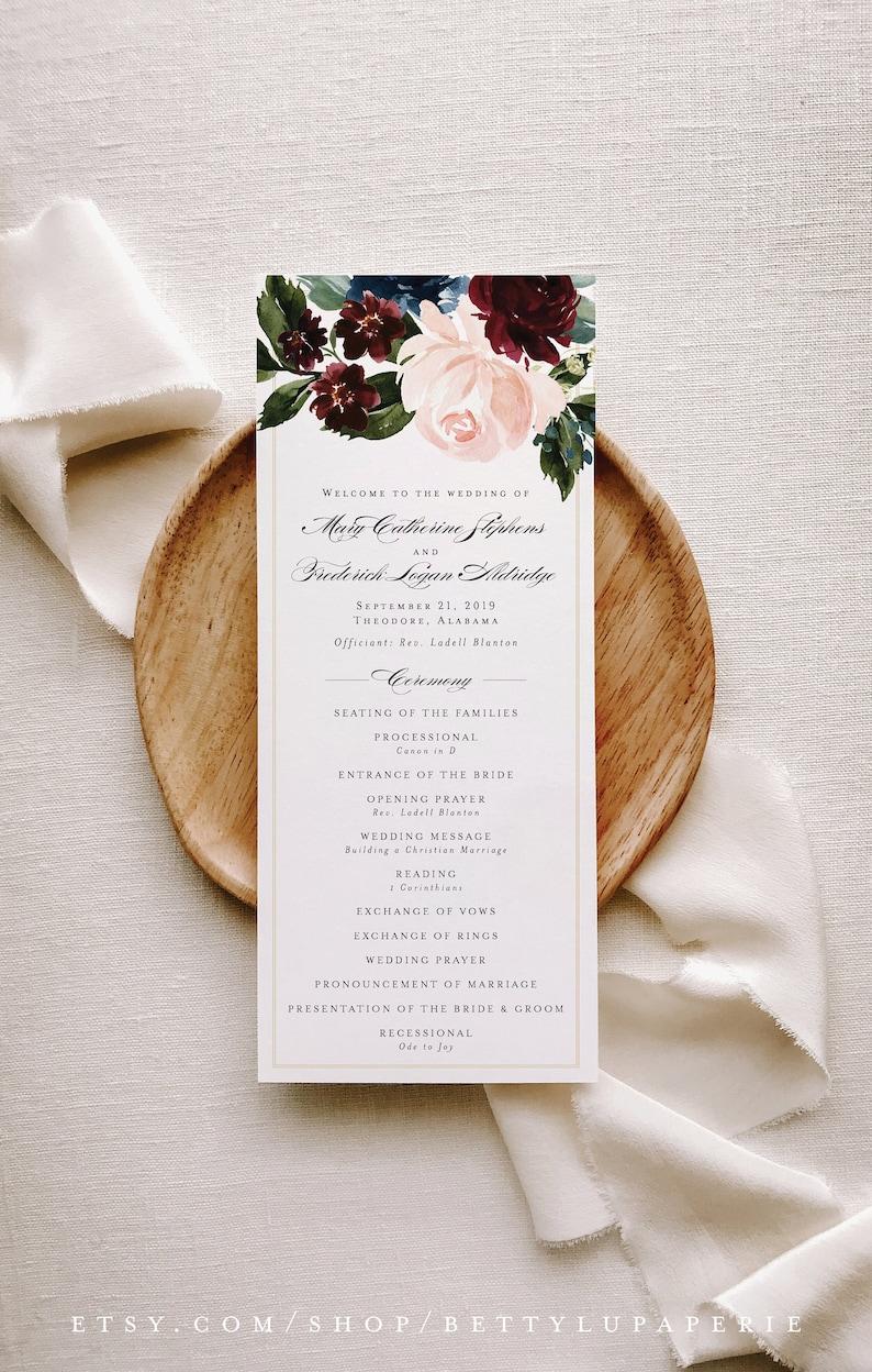 Fall Wedding Programs Printed m19