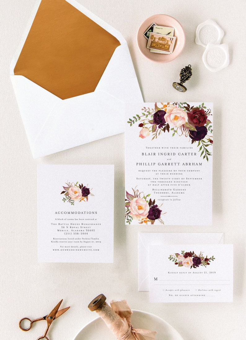 Marsala Wedding Invitation Suite for Bohemian Wedding Add Envelope Liners