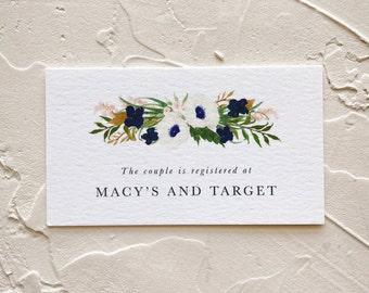 Registry Insert Cards, Navy Blue and Blush Pink Wedding Invitations