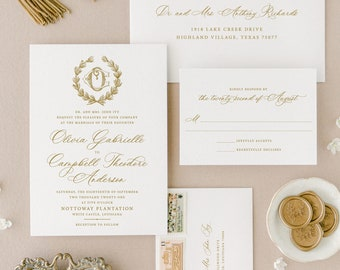 Letterpress Wedding Invitation, Elegant Invite Suite