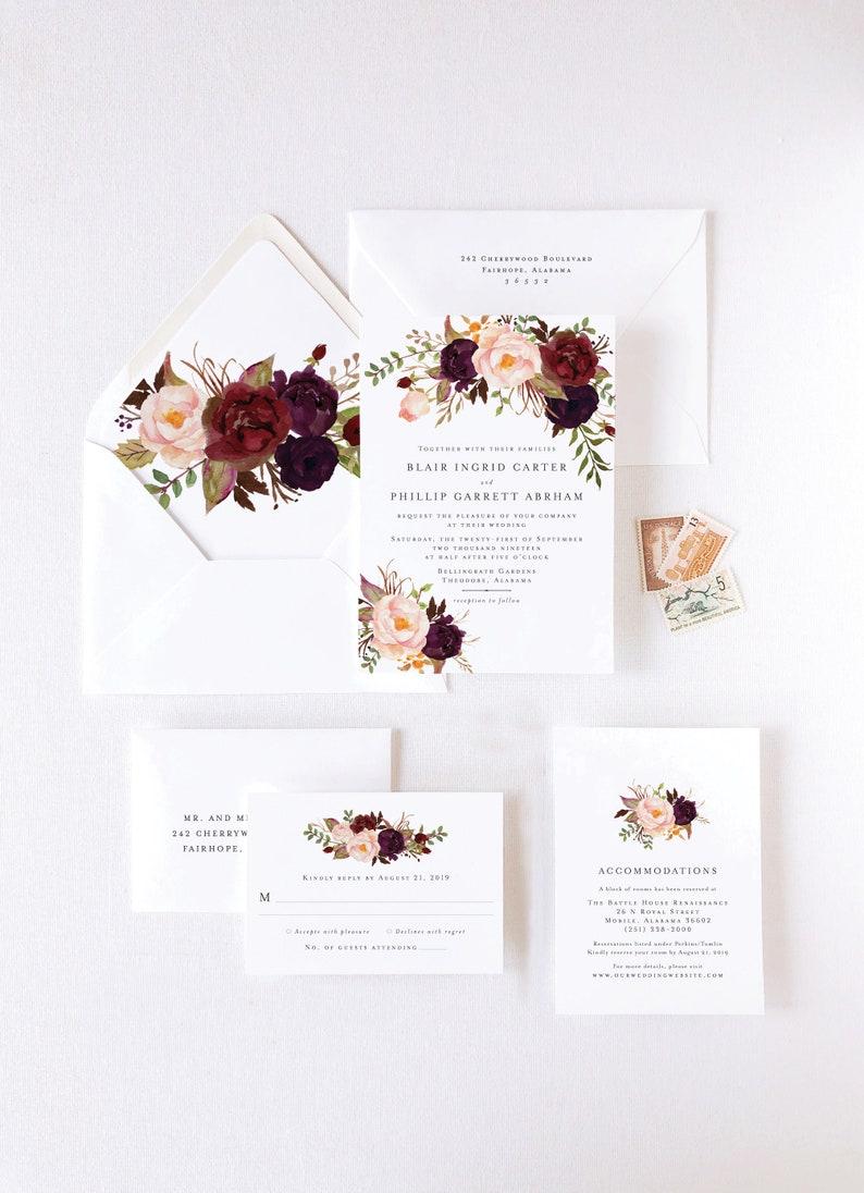 Marsala Wedding Invitation Suite for Bohemian Wedding image 0