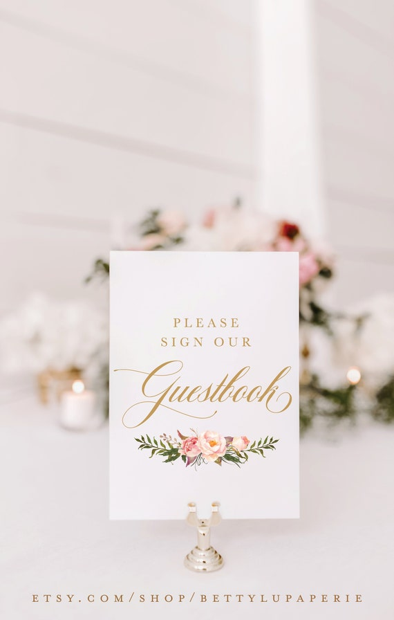 Blush Peach Pink Polaroid Guestbook Wedding Sign Print