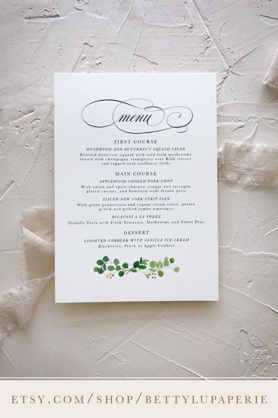 Simple wedding menu card eucalyptus wedding decorations junglespirit Choice Image
