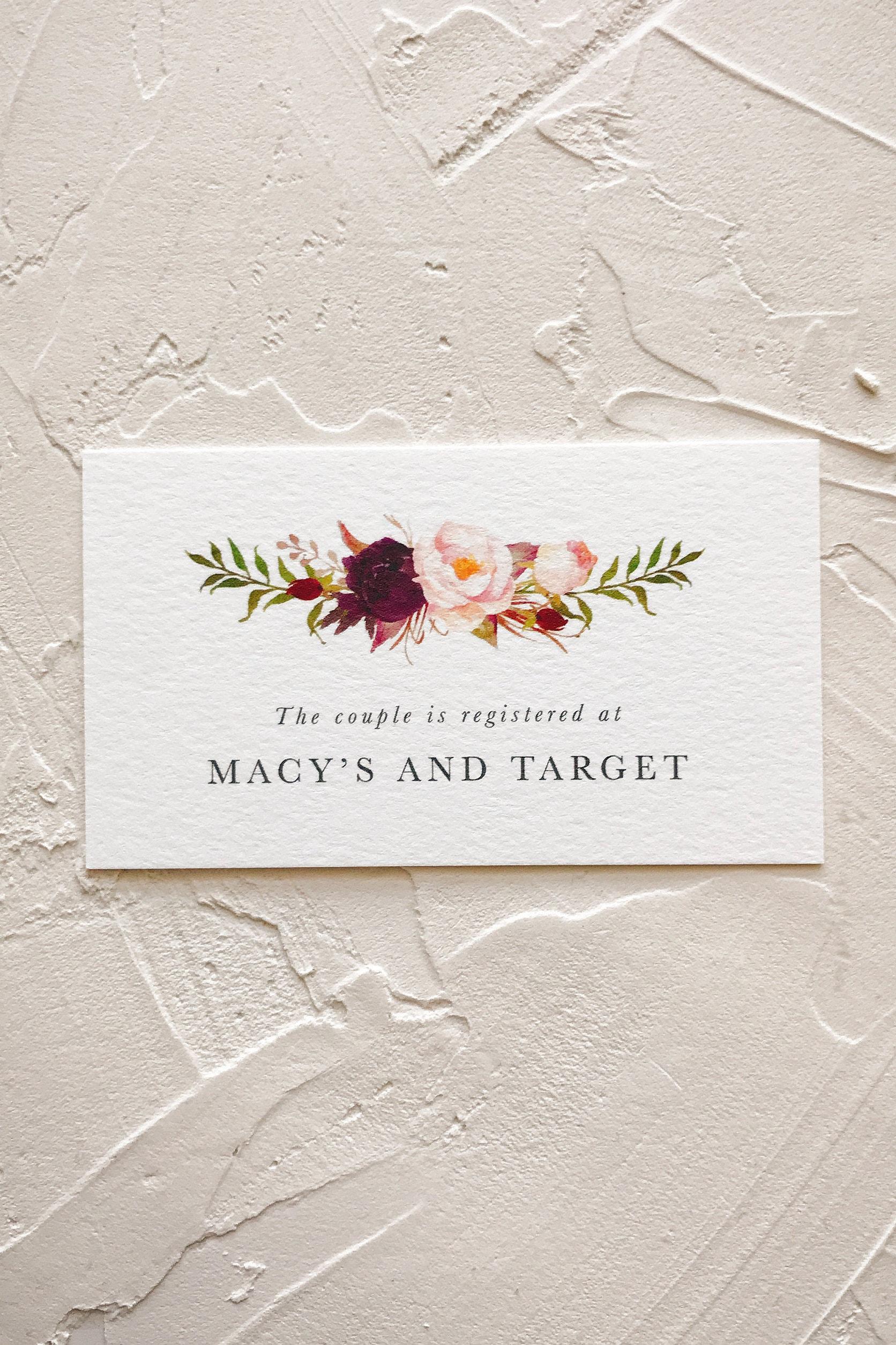 Wedding Invitation Registry Card for Burgundy Floral | Etsy