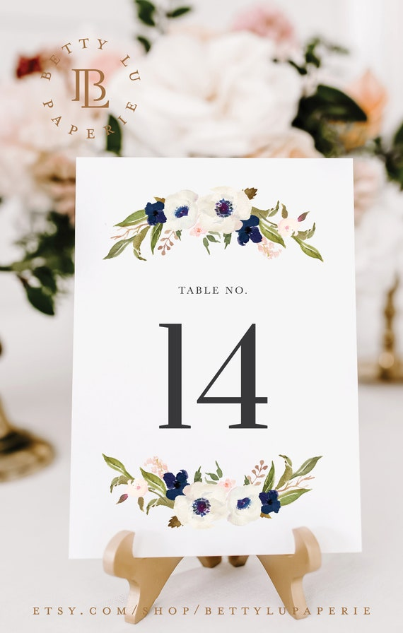 Wedding Numbers Reception Numbers Signs Wedding Numbers Navy
