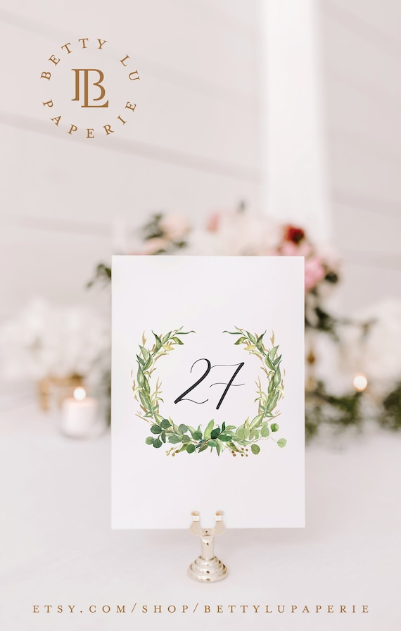 Printed Table Number Cards for Spring Greenery Wedding Decor