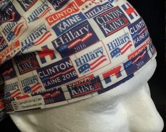 Hillary Clinton Tim Kaine for President 2016 Tie Back Surgical Scrub Hat 221728b5b520