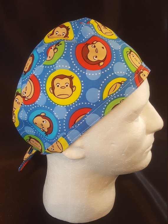 58af9d7cd0c Curious George Surgical Tie Back Scrub Cap Hat