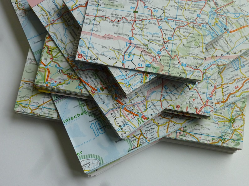 Origami Paper MAP Map 20 sheets 15 x 15 cm Recycling image 0