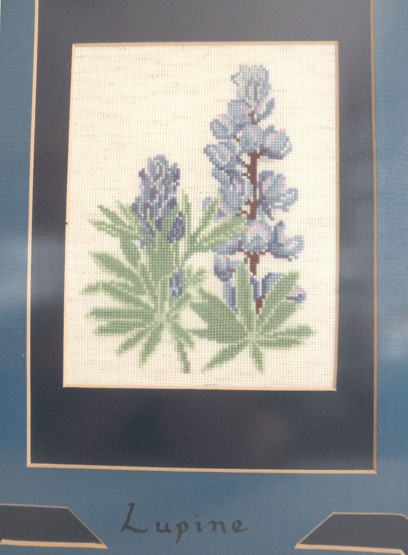 Blue Lupine Wildflower in Wood Frame Vintage Lupine Cross Stitch Framed Art Handmade Embroidery Botanical Cross Stitch Fiber Art