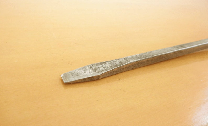 Antique Long Shaft Flathead Screwdriver with Square Wooden Handle Collectable Primative Tools