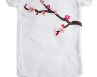 Cherry Blossom Baby Girl Spring Outifit/Baby Bodysuit - Pink