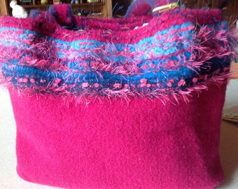 FELTED TOTE bag in hot pink