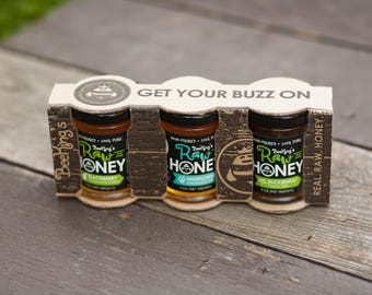 Raw Honey Sampler - Specialty 3-Pack Variety. Sample different flavors of unfiltered honey by Bee Kings. Raw Honey Gift Pack