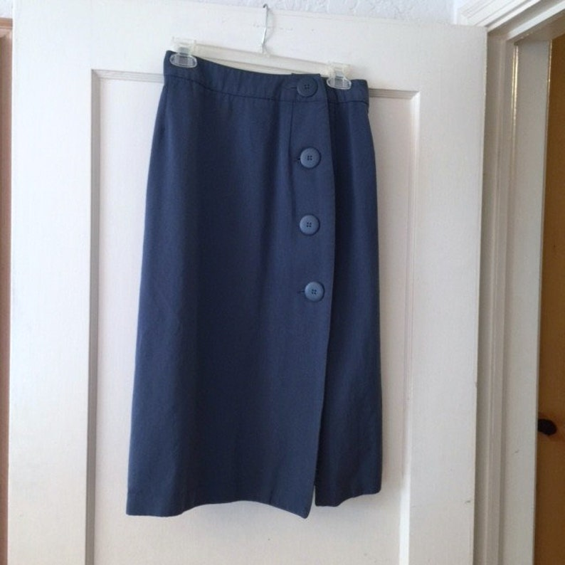 e713ca4be27 Vintage Blue Midi Skirt wrap-around with 4 big buttons at