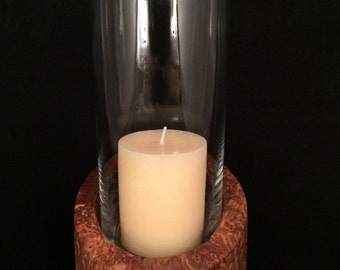 Glass Hurricane Candle Holder | Sleek Modern Design with Gorgeous Hand-Turned Maple Burl Wood Base | Unique Handcrafted Decor | Great Gift