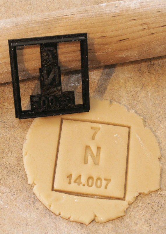 3d Printed Nitrogen Periodic Table Of Elements Cookie Cutter Etsy