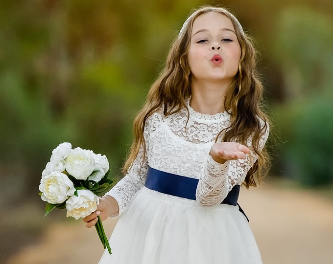 boho flower girl dress white flower girl dress baptism dress communion dress junior bridesmaid dress girls lace dress  196 Sash Color