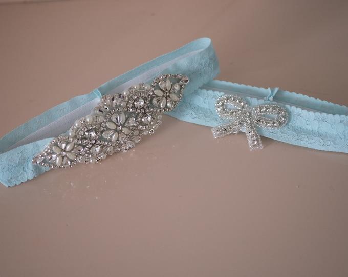 Featured listing image: NO SLIP GARTER  | Something Blue | Wedding Garter | Blue garter Set | Bridal Garter Set | Vintage Garter | lingerie | Crystal Pearl Garter