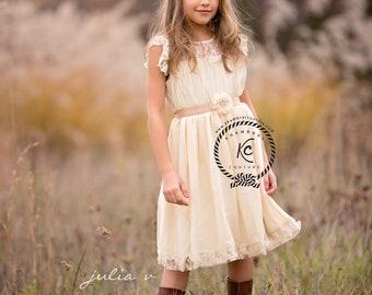 flower girl dress light Ivory flower girl dress girls lace dress lace dress boho flower girl dress baptism christening dress Olivia dress
