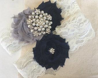 Wedding Garter Bridal Garter Navy Blue Garter Grey Garter Rhinestone Garter Ivory Garter