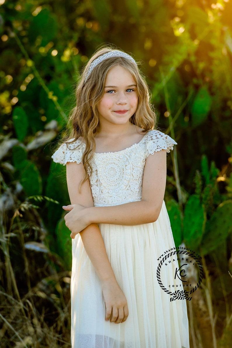 a8720d66c2 Flower girl dress light Ivory flower girl dress girls lace
