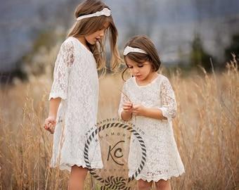 flower girl dress, Ivory flower girl dress, girls lace dress, boho flower girl dress, communion baptism  christening Tiffany dress