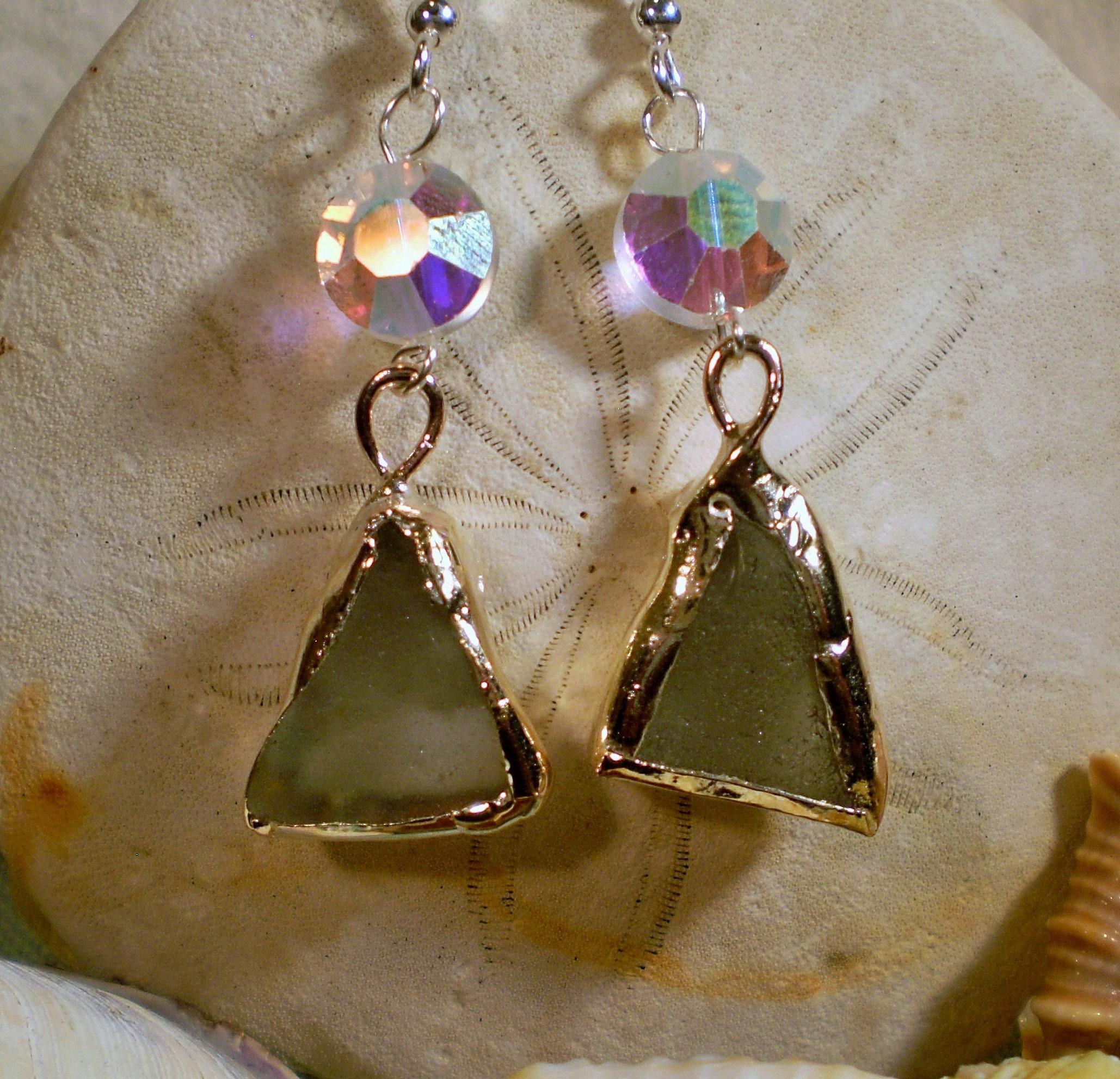 4e152f010671 Stunning Pair of Sea Foam Sea Glass and Crystal Earrings