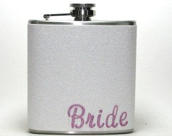 Dog Bones Sparkly Glitter 4 6 or 8 oz Size Stainless Steel Liquor Hip Flask Flasks Weddings Bridesmaids Gift Idea