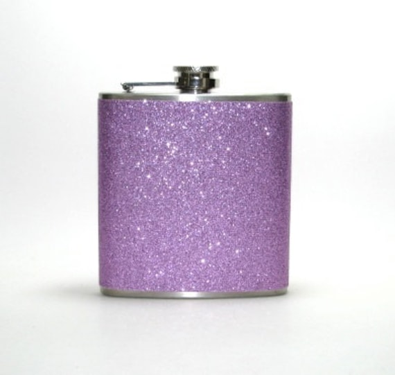 Your Color Choice Personalized Sparkly Glitter 6 oz Size Stainless Steel Liquor Hip Flask Flasks Weddings Bridesmaids Gift Idea