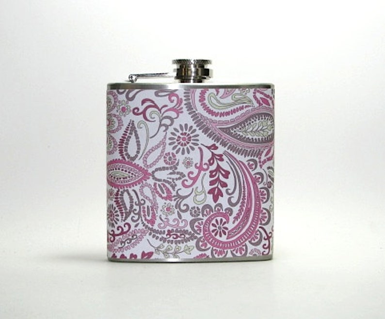 Pink Paisley 4 6 or 8 oz Size Stainless Steel Liquor Hip Flask Flasks Weddings Bridesmaids Gift Idea