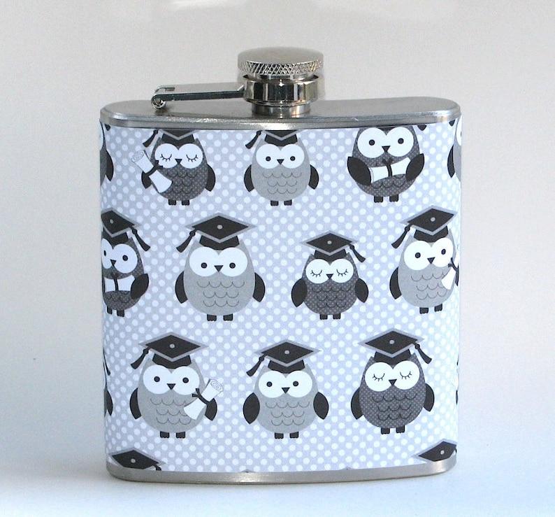Wise Owl Graduation Congratulations Graduate 6 oz Size Stainless Steel Liquor Hip Flask Flasks Gift Idea