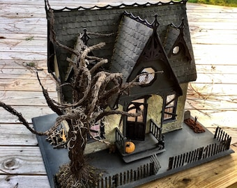 Handcrafted Wooden Eerie Haunted Dollhouse