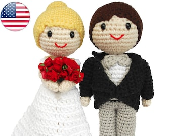 Amigurumi bride and groom. Cake toppers for your wedding. Crochet couple for a handmade wedding or as a bridal gift (PDF PATTERN in ENGLISH)