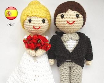 Amigurumi bride and groom. Wedding cake topper. Crochet couple for a handmade wedding. Bridal gift. Wedding dolls (PDF PATTERN in SPANISH)