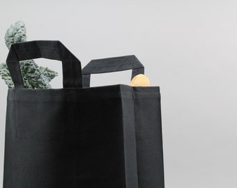The Market Bag // Black WAXED Canvas Reusable Shopping Bag with handles, eco-friendly and stylish