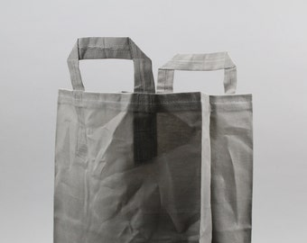 The Market Bag // Grey WAXED Canvas Reusable Shopping Bag with handles, eco-friendly and stylish