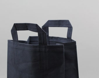 The Market Bag // Navy WAXED Canvas Reusable Shopping Bag with handles, eco-friendly and stylish