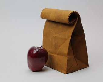 "The ""Brown"" Bag // Caramel Brown WAXED Canvas Lunch Bag, an updated, eco-friendly classic"