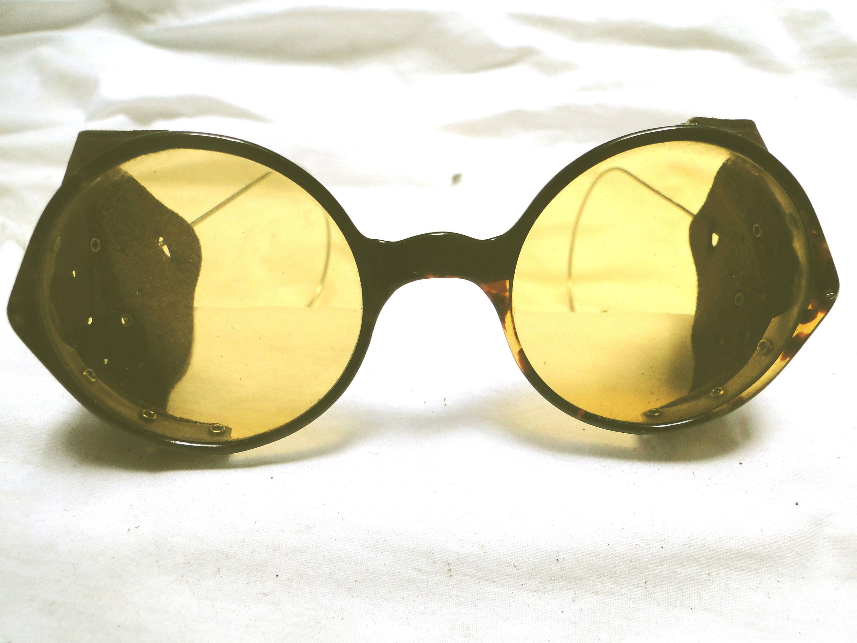VINTAGE STEAMPUNK TORTOISE shell marco gafas de sol ww2 rara