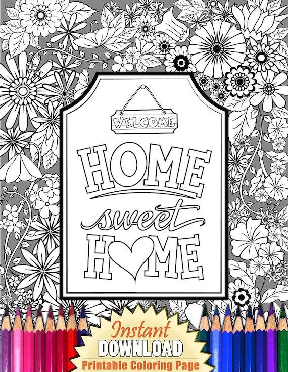 Flores para imprimir para colorear página HOME SWEET HOME | Etsy