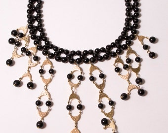 Vintage Black beads with Gold Pendants Scoop Necklace