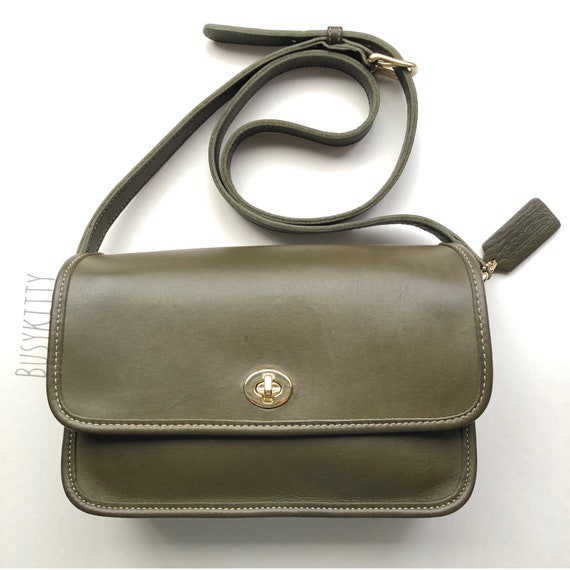 Vintage Coach Olive Green Leather Compartment Bag
