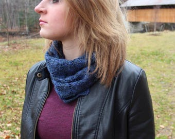 Bamboo/wool Hand Knit Blue and Black Cowl Neckwarmer