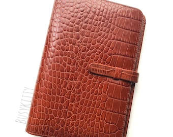 NWT Coach Croc Embossed Cognac Leather Organizer - Style No. 8795