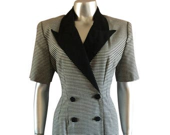 Vintage Black and White Houndstooth Dress