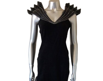 Vintage Black Suede Dress