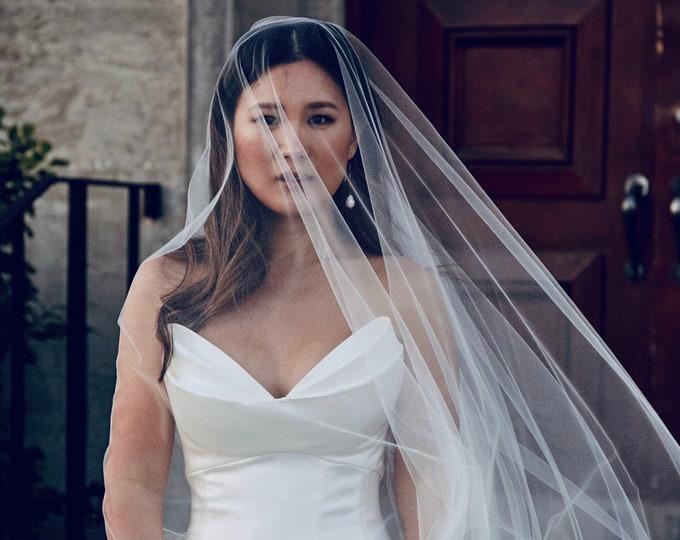 Sheer Drop Bridal Veil with Waist length blusher (Cathedral Veil, Illusion Bridal Veil, Raw Edge Veil, Drape Veil, Long Veil, Waltz, Chapel)