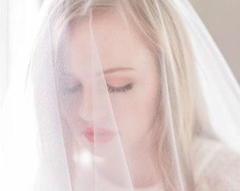 Sheer Drop Illusion Wedding Veil (Blusher Veil, Bridal Veil, Ivory, Diamond White, Cathedral, Elbow, Finger Tip, Waltz, Chapel Length)