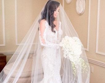 Sheer Drop Bridal Veil with Long Blusher (Cathedral Veil, Illusion Veil, Drape Veil, Long Veil, Kim Kardashian veil, Meghan Markle veil)